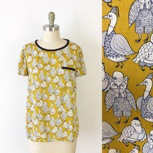 Anthropologie Owl & Goose Print Rayon Shirt T852
